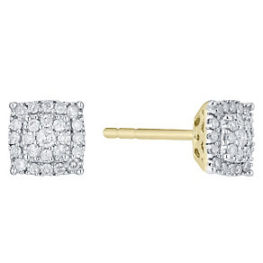 Perfect Fit 9ct Gold 2 Colour 1/5ct Diamond Cluster Studs - Product number 4761855