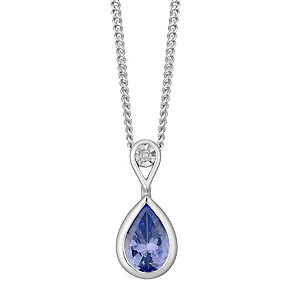 Sterling Silver Pear Shape Tanzanite & Diamond Set Pendant - Product number 4761871