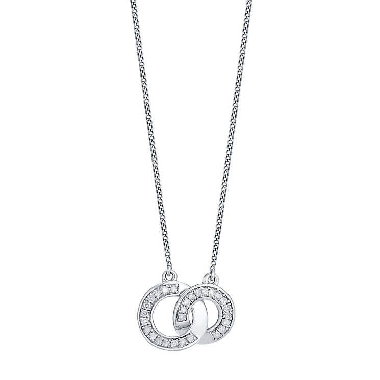 Perfect Fit Silver 0.10 Carat Diamond Set Union Pendant - Product number 4761898