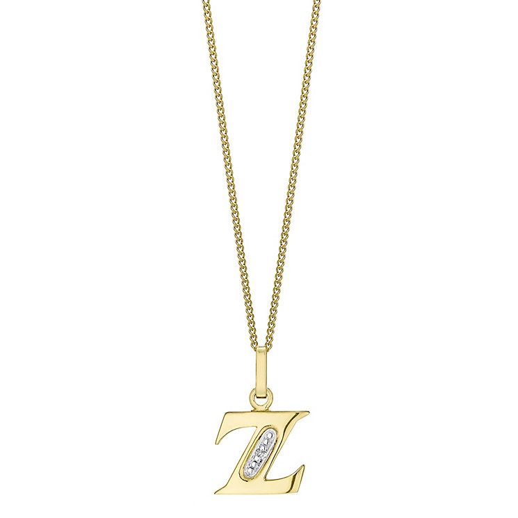9ct Gold Diamond Set Initial Z Pendant - Product number 4761901