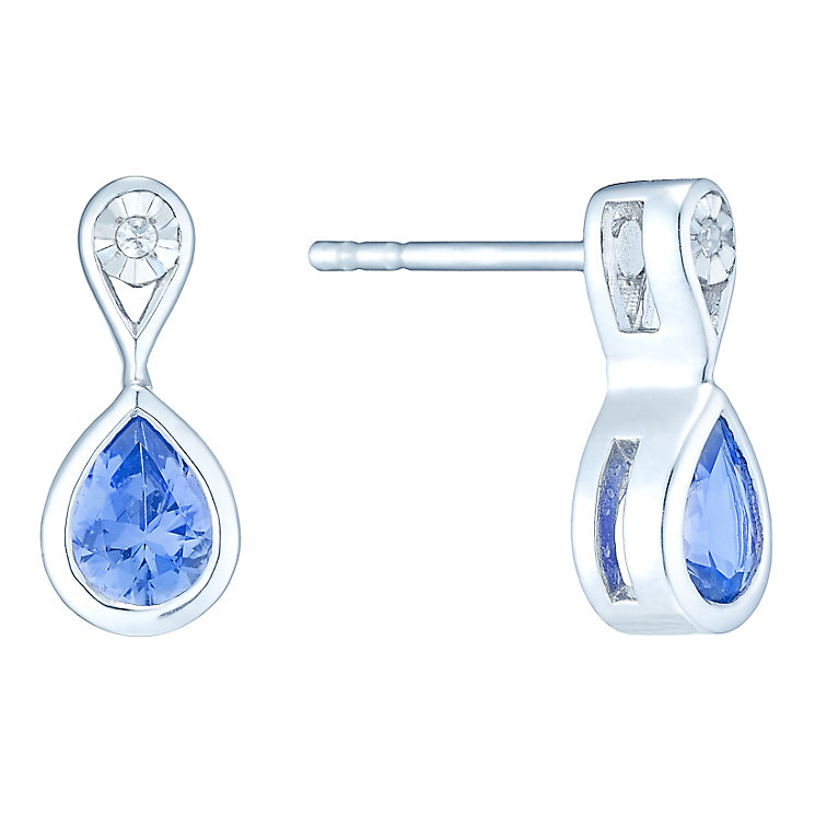Sterling Silver Pear Shape Tanzanite & Diamond Earrings - Product number 4761928