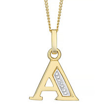 9ct Gold Diamond Set Initial A Pendant - Product number 4761936