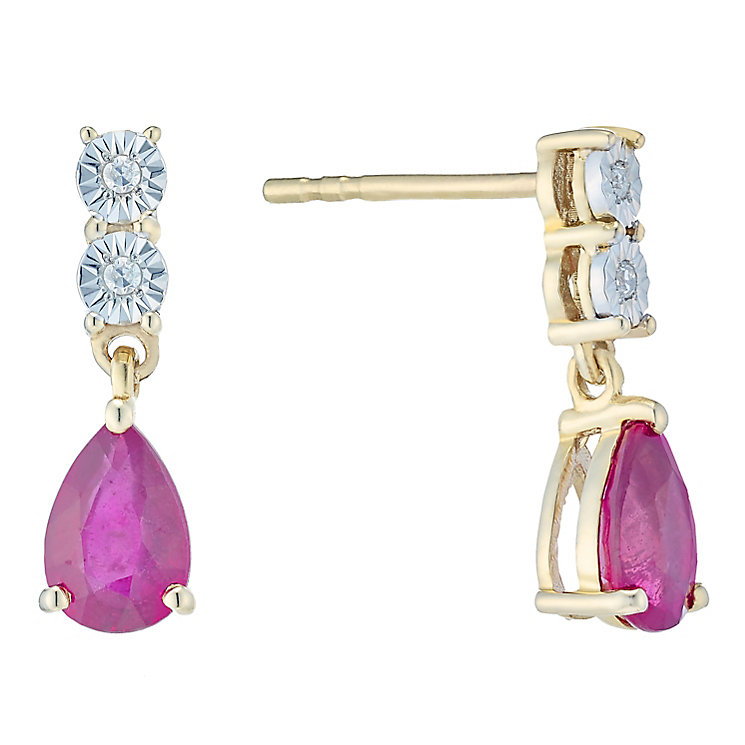 9ct Gold Treated Ruby & Diamond Pear Shaped Drop Earrings - Product number 4761944