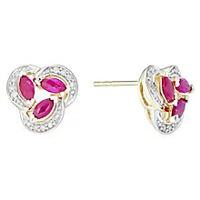 9ct Gold Marquise Treated Ruby & Diamond Set Stud Earrings - Product number 4762223
