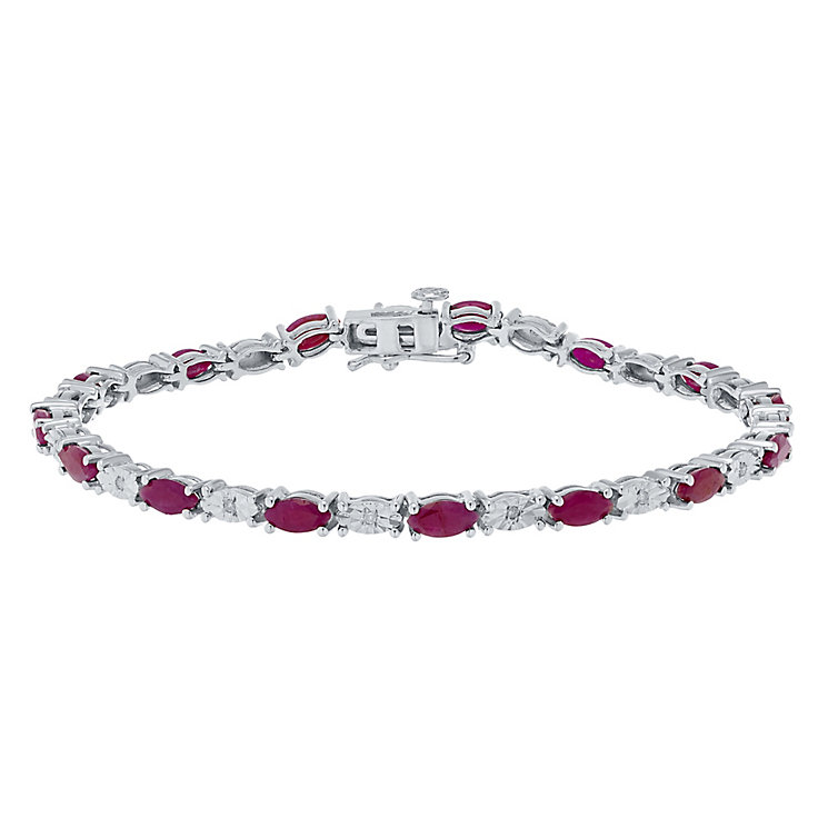 Sterling Silver Ruby & Diamond Set Bracelet - Product number 4762231