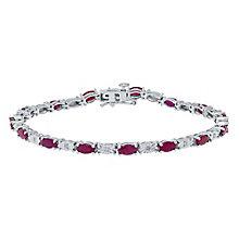 Sterling Silver Ruby & Diamond Set Bracelet - Product number 4762231