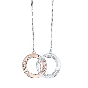 Perfect Fit Silver & 9ct Rose Gold Diamond Set Union Pendant - Product number 4762274