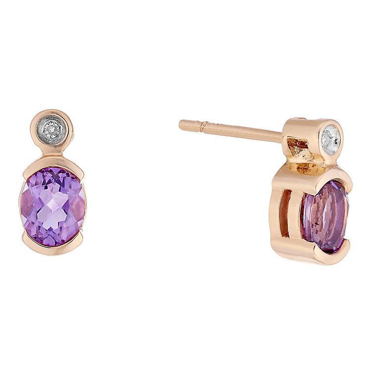 9ct Rose Gold Amethyst & Diamond Earrings - Product number 4762282