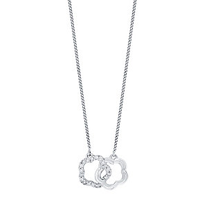 Perfect Fit Silver 0.10 Carat Diamond Daisy Union Pendant - Product number 4762304