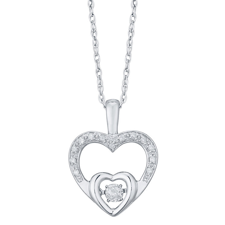 Diamonds In Rhythm Sterling Silver Diamond Heart Pendant - Product number 4762320