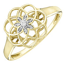 9ct Gold Diamond Set 3D Flower Ring - Product number 4762371