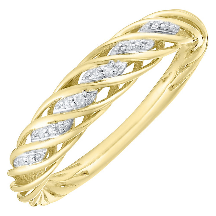 9ct Gold Diamond Set 3D Twist Ring - Product number 4762517