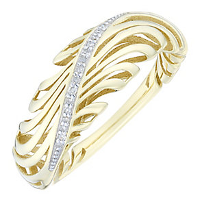9ct Gold Diamond Set Twist 3D Ring - Product number 4762789