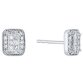 Perfect Fit 9ct White Gold 1/5ct Diamond Vintage Style Studs - Product number 4762916
