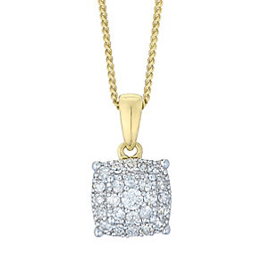 Perfect Fit 9ct Gold 2 Colour 0.13ct Diamond Cluster Pendant - Product number 4762924