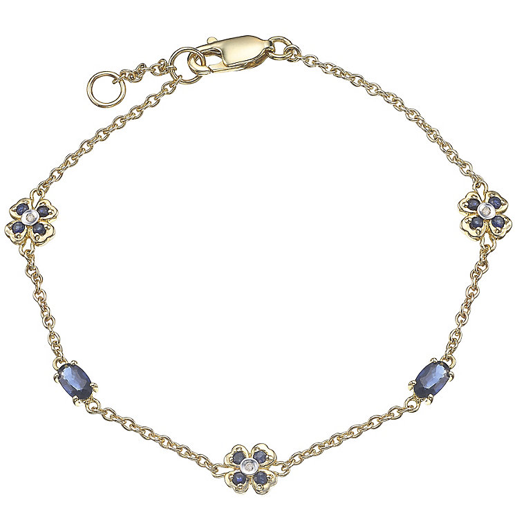 9ct Gold Sapphire & Diamond Set Flower Station Bracelet - Product number 4762932