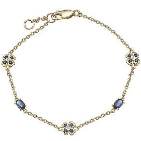 9ct Gold Sapphire & Diamond Set Flower Station Bracelet - Product number 4762932