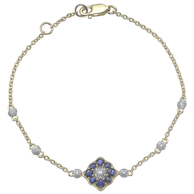 9ct Gold Sapphire & Diamond Set Station Bracelet - Product number 4762940