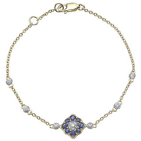 9ct Gold Sapphire & Diamond Set Station Bracelet - Product number 4762940
