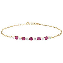 9ct Gold Ruby & Diamond Set Bracelet - Product number 4763084