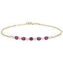 9ct Gold Ruby & Diamond Set Bracelet - Product number 4763084