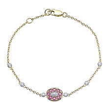9ct Gold Ruby & Diamond Set Station Chain Bracelet - Product number 4763092