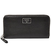 Fossil Ladies Black Zip Clutch Wallet - Product number 4768612