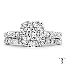 Tolkowsky 18ct White Gold 1ct II1 Diamond Bridal Set - Product number 4771788