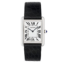 Cartier Tank Solo men's stainless steel black strap watch - Product number 4779835