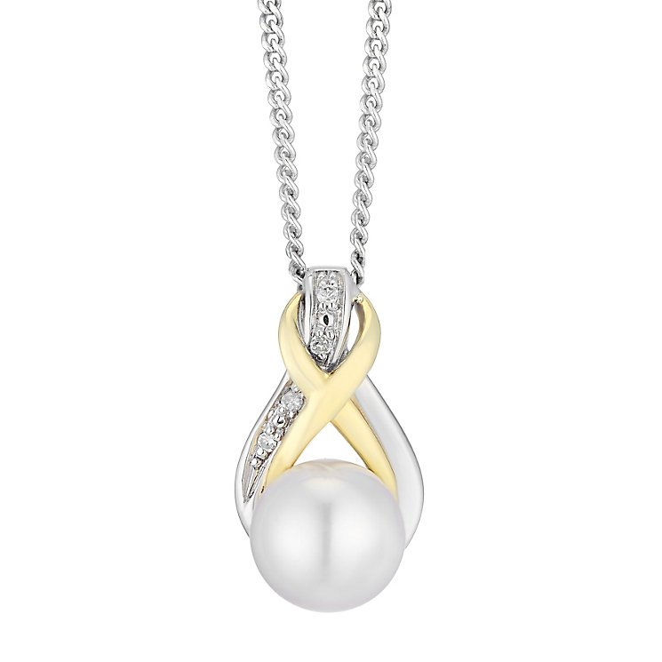 9ct Silver Pearl Birthstone & Diamond Twist Pendant - Product number 4780620