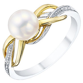 9ct Silver Pearl Birthstone & Diamond Twist Ring - Product number 4780833