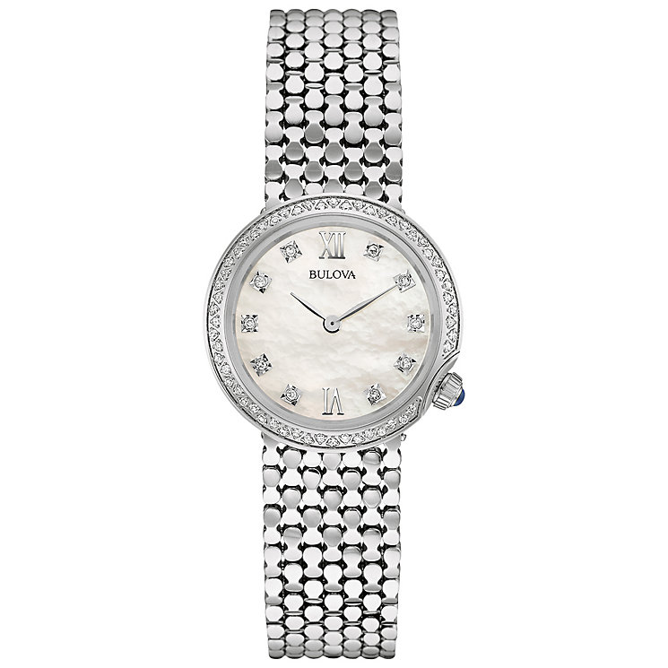 Bulova Ladies' Stainless Steel Stone Set Bracelet Watch - Product number 4786041
