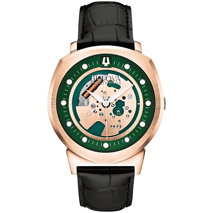 Bulova Alpha Men's Rose Gold Plated Skeleton Strap Watch - Product number 4786572