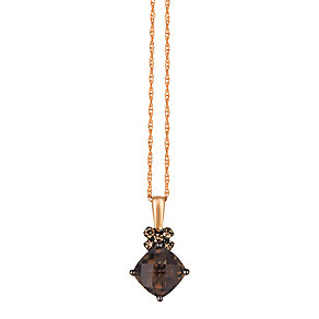 Le Vian 14ct Rose Gold Smokey Quartz & Diamond Pendant - Product number 4787463