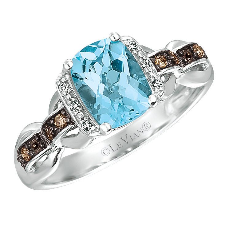 14ct Vanilla Gold Ocean Blue Topaz & Vanilla Diamond Ring - Product number 4787471