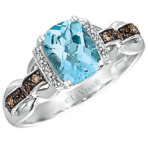 14ct Vanilla Gold Ocean Blue Topaz & Vanilla Diamond Ring - Product number 4787471
