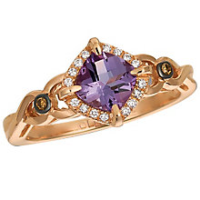 14ct Strawberry Gold Grape Amythest & Vanilla Diamond Ring - Product number 4787846