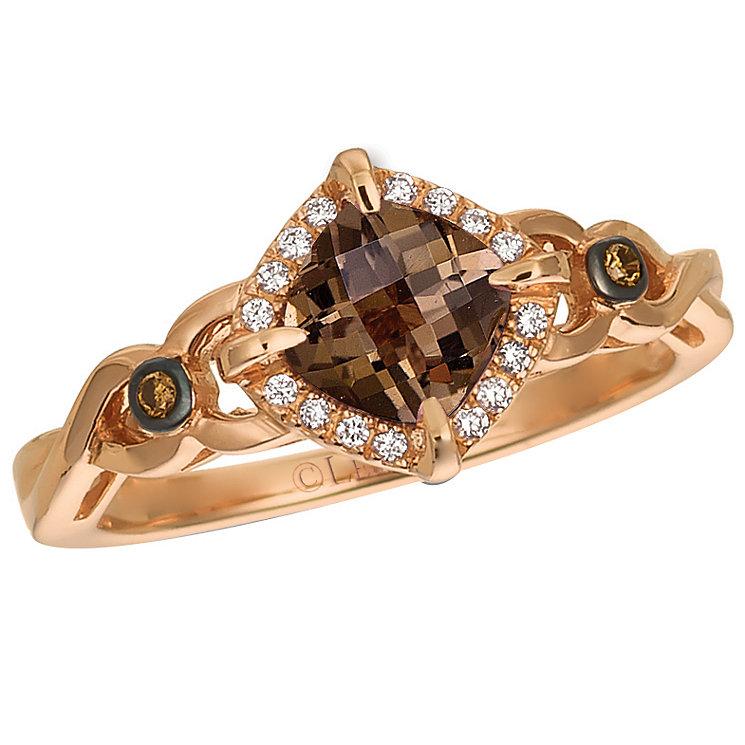14ct Strawberry Gold Smokey Quartz & Vanillia Diamond Ring - Product number 4787978