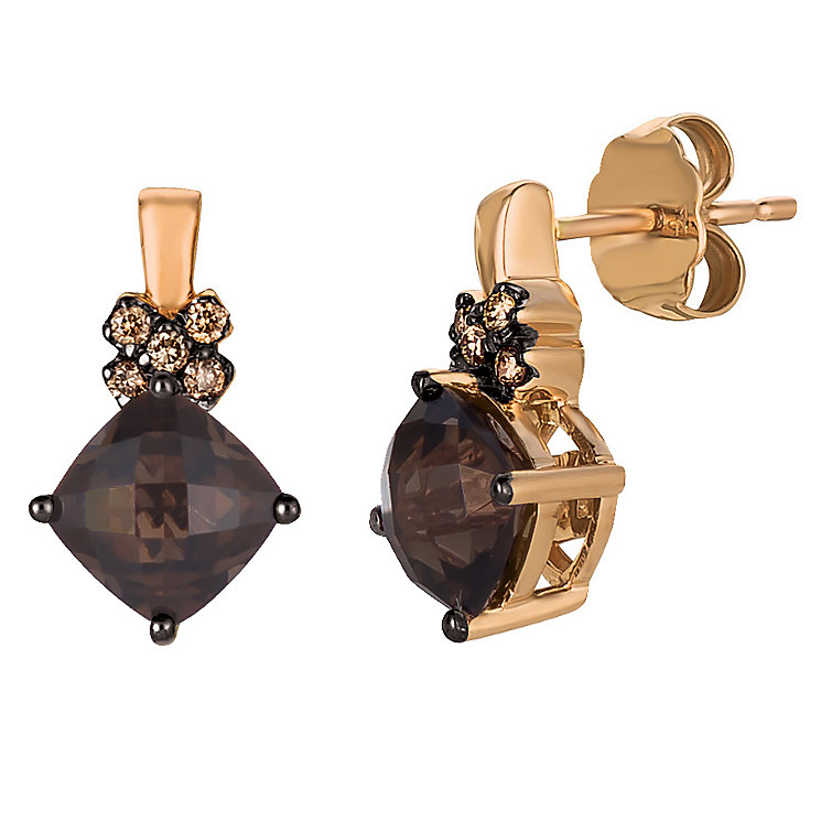 14ct Strawberry Gold Chocolate Quartz & Diamond Earrings - Product number 4788370
