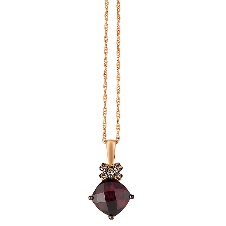 Le Vian 14ct Rose Gold Rhodolite Garnet & Diamond Pendant - Product number 4788389