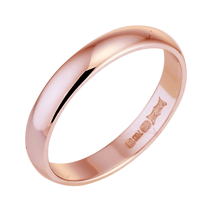 18ct rose gold D shape extra heavy weight 3mm ring - Product number 4790871