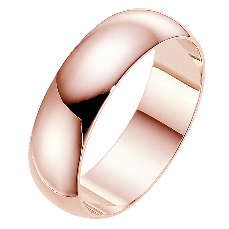 18ct rose gold extra heavy D-shape 7mm ring - Product number 4792041