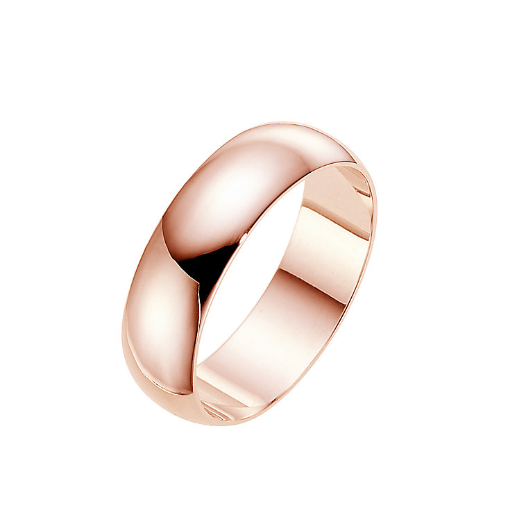 18ct rose gold extra heavy D-shape 8mm ring - Product number 4792351