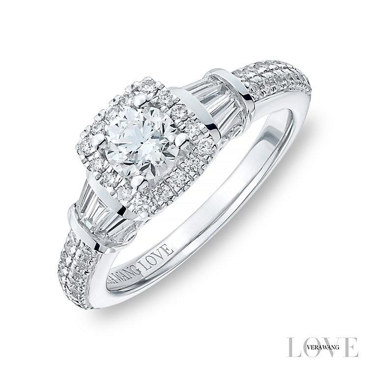 Vera Wang 18ct White Gold 0.95ct Diamond Cushion Halo Ring - Product number 4799232