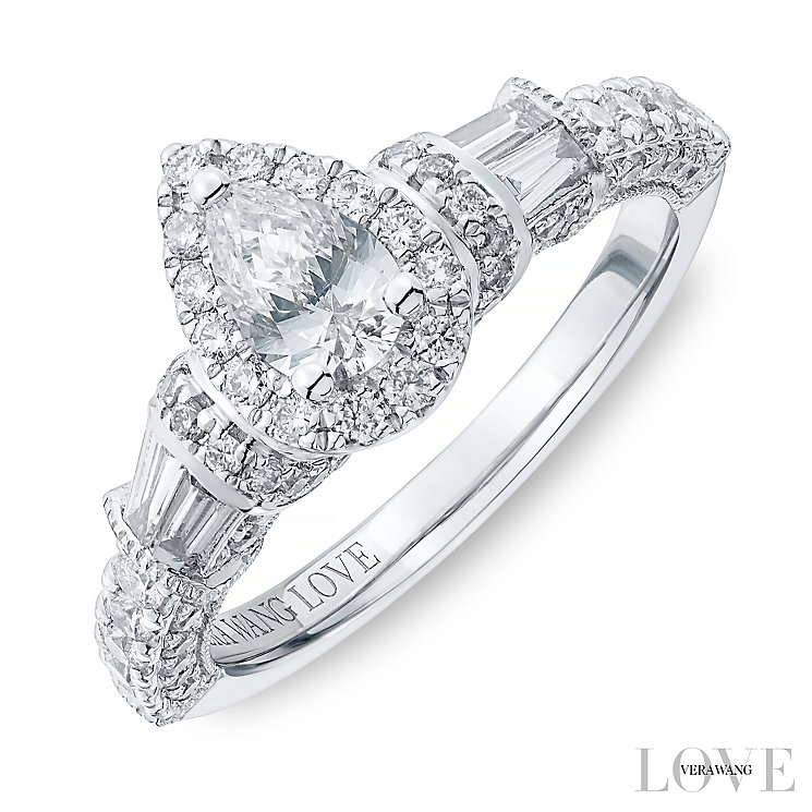 Vera Wang 18ct White Gold 1.18ct Diamond Pear Halo Ring - Product number 4799488