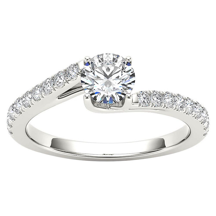 The Diamond Story 18ct White Gold Diamond Crossover Ring - Product number 4801954