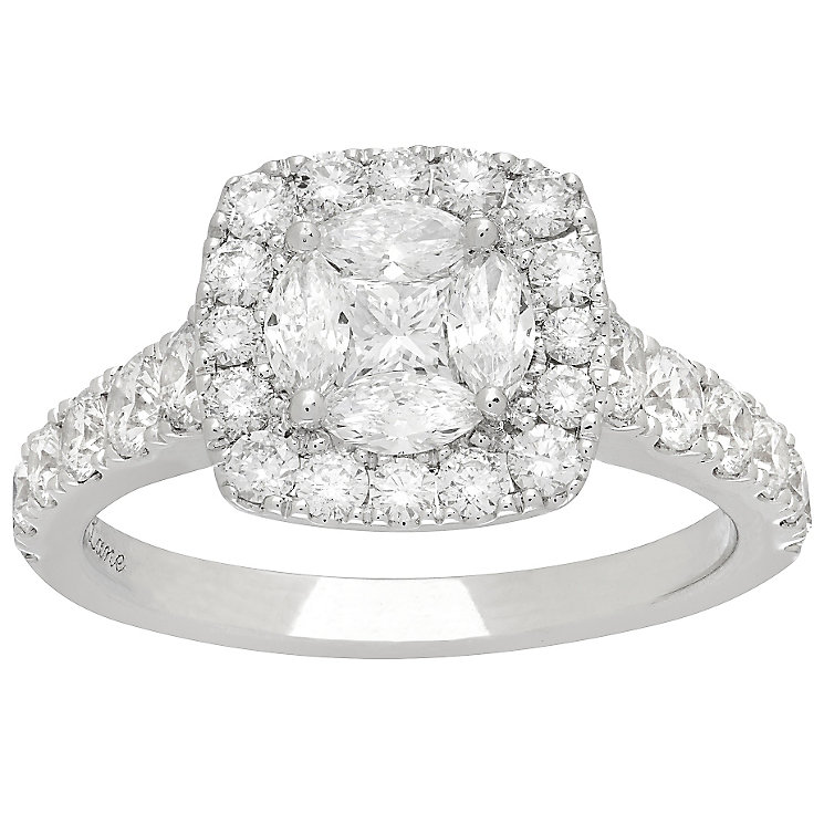 Neil Lane 14ct White Gold 1.72ct Diamond Halo Cluster Ring - Product number 4807928