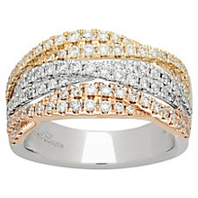 Neil Lane Designs 14ct White Gold & Yellow Gold 3 Row Band - Product number 4809289