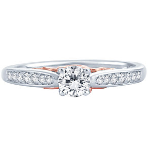 18ct White & Rose Gold 0.33ct Diamond Solitaire Ring - Product number 4810023