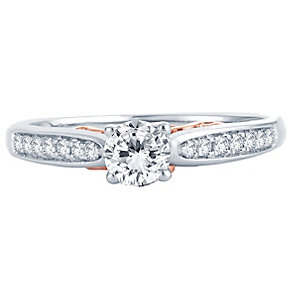 18ct White & Rose Gold 0.50ct Diamond Solitaire Ring - Product number 4810201